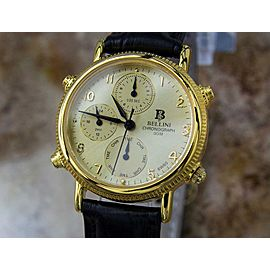 Bellini Swiss Unisex Alarm Chronograph 32mm Gold Plated Luxury Watch 1990s LA107