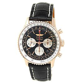 Breitling Navitimer 18k Rose Gold Leather Automatic Black Men's Watch RB0120