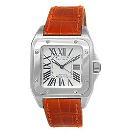 Cartier Santos 100 Stainless Steel Leather Automatic Silver Men's Watch W20106X8