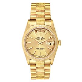 Rolex Day-Date President 36mm Yellow Gold Bark Finish Mens Watch 18248