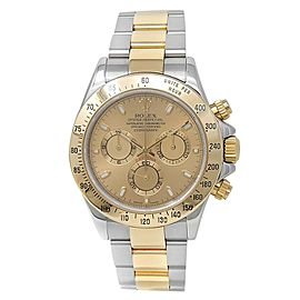 Rolex Daytona 18k Yellow Gold Stainless Steel Oyster Champagne Mens Watch 116523