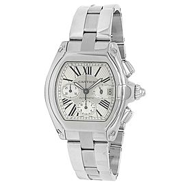 Cartier Roadster XL Stainless Steel Chronograph Auto Silver Men's Watch W62019X6