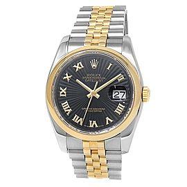 Rolex Datejust 18k Yellow Gold Steel Jubilee Automatic Black Men's Watch 116203