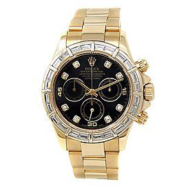 Rolex Daytona 18k Yellow Gold Oyster Diamonds Automatic Black Men's Watch 116568