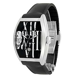 Franck Muller Cintree Curvex Stainless Steel Black Skull Watch 8880 SC DT GOTH