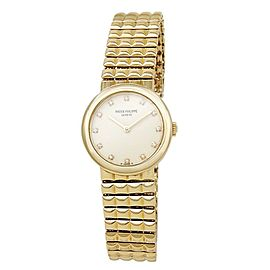 Patek Philippe Calatrava 18k Yellow Gold Diamonds Cream Ladies Watch 4747/001