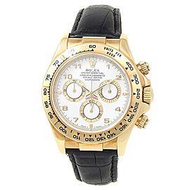 Rolex Daytona 18k Yellow Gold Leather Chronograph Auto White Men's Watch 116518