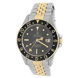 Rolex GMT-Master 18k Yellow Gold Steel Jubilee Automatic Black Men's Watch 16753