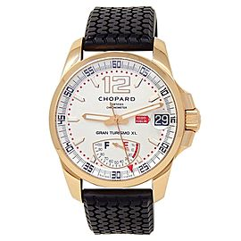 Chopard Mille Miglia Gran Turismo XL 18k Rose Gold Silver Mens Watch 161272-5001