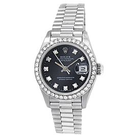 Rolex Datejust 18k White Gold President Auto Diamonds Black Ladies Watch 69139