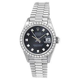 Rolex Datejust 18k White Gold President Auto Diamonds Black Ladies Watch 69139