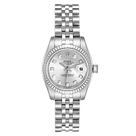 Rolex Datejust Steel White Gold Silver Diamond Dial Ladies Watch 179174