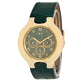 Ebel Lichine 18k Yellow Gold Chronograph Quartz Green Men's Watch 8964980