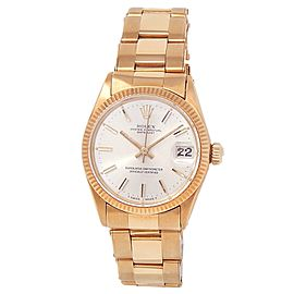 Rolex Datejust 18k Yellow Gold Oyster Automatic Silver Midsize Watch 6627