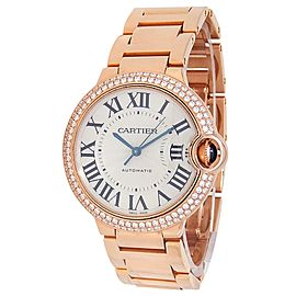 Cartier Ballon Bleu 18k Rose Gold Automatic Diamond Silver Ladies Watch WE9005Z3