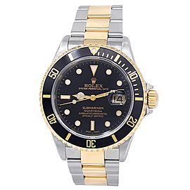 Rolex Submariner 18k Yellow Gold Steel Oyster Automatic Black Men's Watch 16613