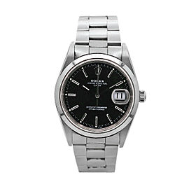Rolex Oyster Perpetual Date 34mm Stainless Steel with Black Index Dial, 15200