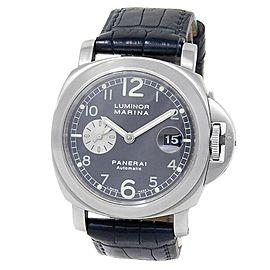 Panerai Luminor Marina Stainless Steel Leather Auto Grey Men's Watch PAM00086