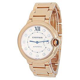 Cartier Ballon Bleu 18k Rose Gold Automatic Diamond Silver Ladies Watch WE902026