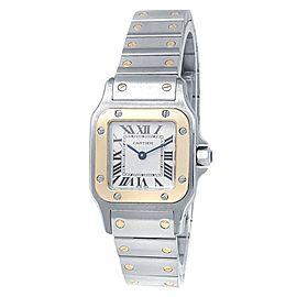 Cartier Santos Galbee 18k Yellow Gold Steel Quartz White Ladies Watch W20012C4
