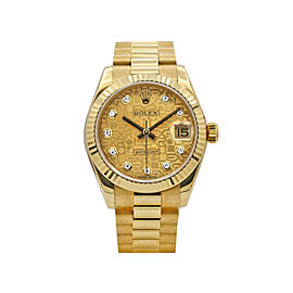 Rolex Ladies Datejust 31, 18K Yellow Gold, Champagne Jubilee Diamond dial, 17827
