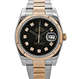 Men's Rolex Datejust 36, Steel and 18k Rose Gold, Black Diamond Dial, 116231
