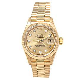 Rolex Datejust 18k Yellow Gold President Diamonds Champagne Ladies Watch 69178
