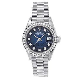 Rolex Datejust 18k White Gold President Auto Diamonds Blue Ladies Watch 69179