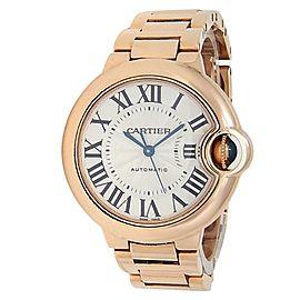 Cartier Ballon Bleu 18k Rose Gold Automatic Silver Ladies Watch W6920096