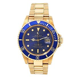 Rolex Submariner 18k Yellow Gold Oyster Automatic Blue Men's Watch 16808
