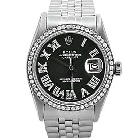 Men's Rolex Oyster Perpetual Datejust 36, Steel, Dark rhodium Diamond dial, 1601