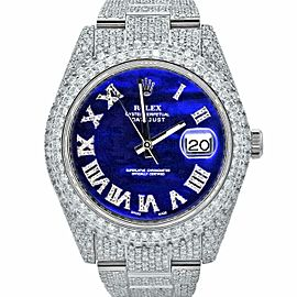Men's Rolex Datejust II, 41mm, Steel Iced Out, Blue Roman Diamond Dial 116300