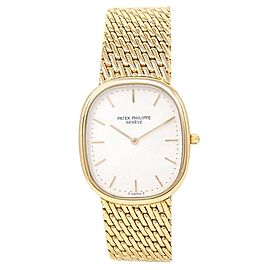 Patek Philippe Golden Ellipse 18k Yellow Gold Automatic White Men's Watch 3738