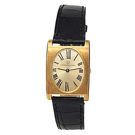 Universal Geneve 18k Yellow Gold Black Leather Manual Champagne Ladies Watch