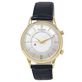 Jaeger-LeCoultre Memovox 18k Yellow Gold Leather Automatic Silver Men's Watch