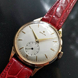 Mens Zenith 37mm 18k Solid Rose Gold Manual Wind Dress Watch, c.1960s MA167RED