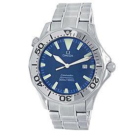 Omega Seamaster Stainless Steel Quartz Blue Men's Watch