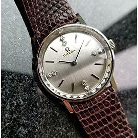 Ladies Omega 27mm 14 White Gold Diamond Dress Watch, c.1970s Swiss LV451