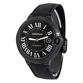 Cartier Ballon Blue Stainless Steel Leather Automatic Black Men's Watch WSBB0015