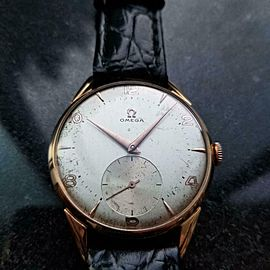 Mens Omega cal.265 36mm 18k Rose Gold Hand-Wind Dress Watch, c.1950s Swiss LV715