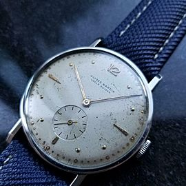 Mens Ulysse Nardin 37mm Hand-Wind Large Dress Watch, c.1950s Swiss Vintage LV776