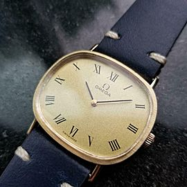 Mens Omega 33mm 14k Solid Gold Hand-Wind Dress Watch, c.1970s Vintage LV75BLU