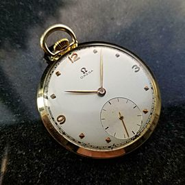 Omega 14k Solid Gold Open Face Pocketwatch 44mm, c.1940s Swiss Vintage LV948