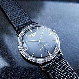 Mens Longines Ref.1017 32mm 14K White Gold Diamond Dress Watch, c.1970s MS204