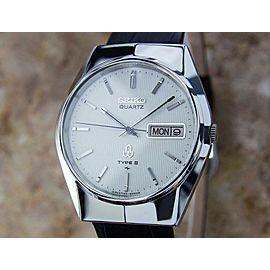 Mens Seiko Type II 35mm Day Date Quartz Dress Watch, c.1980s Y23