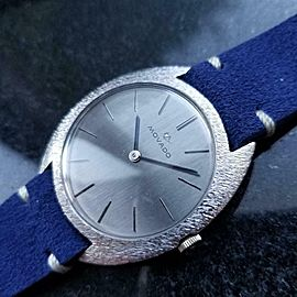 Mens Movado 35mm 18k White Gold Hand-Wind Dress Watch c.1960s Swiss MA144BLU