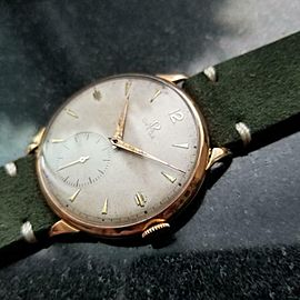 Mens Omega 37mm 18K Rose Gold Hand-Wind, c.1940s Swiss Vintage MS177GRN
