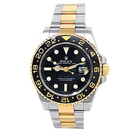 Rolex GMT-Master II 18k Yellow Gold Steel Oyster Auto Black Men's Watch 116713LN