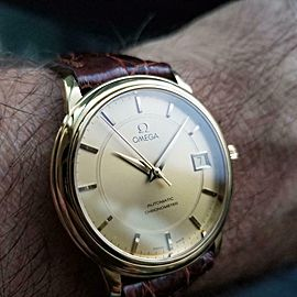 Mens Omega 35mm 18K Gold Date Automatic Dress Watch, c.2000s Swiss LV486BRN