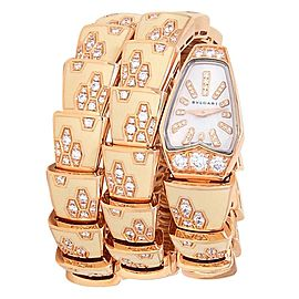 Bvlgari Serpeti 18k Rose Gold Enamels Quartz Diamonds MOP Ladies Watch SPP26G